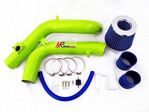 05 06 Scion tC 2.4L VVTi L4 Green Piping Cold Air Intake System Kit with Blue Filter