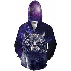 Hipster Cat Zip Up Hoodie - All Over Print Hoodie!