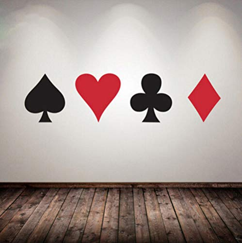 Zhrrya Poker Cards Vinyl Wall Decal Suit Playing Game Room Decoration Poker Casino Vinyl Poster Heart Diamond Shape Wall Sticker 15Cm Tall of - Diamond Card Suit