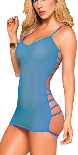 Rozegaga Womens Sheer Lace Trim Lingerie Strappy Back Mesh Babydoll Medium Blue