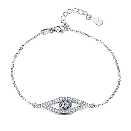 Evil Eye Link Bracelet - TONGZHE Blue Evil Eye Link Bracelet in Sterling Silver 925 with Cubic Zirconia CZ and 6.5