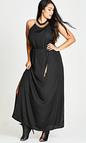 Ring Detail Plus Size Maxi Dress in Black - Size 14 / XS