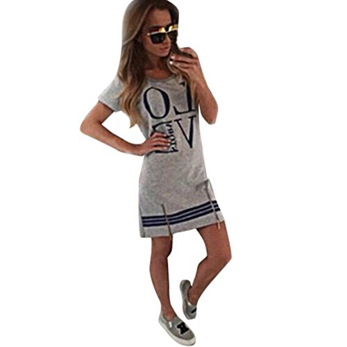 Wintialy Womens 2015LOVE Casual Zipper Love Printed Fashion Short Mini Beach (1960's Womens Hippie Dress)