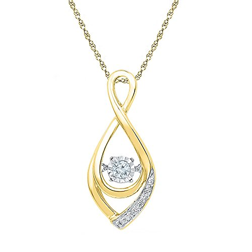 Moving Diamond Teardrop Pendant 10k Yellow Gold Drop Motion Charm Twinkle Fashion Style Fancy 1/20 Cttw