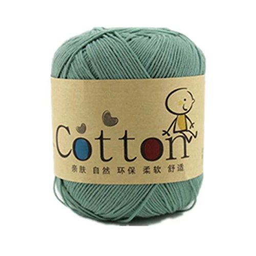 Celine lin One Skein Super Soft Natural Cotton Baby Knitting Yarn ,Green -