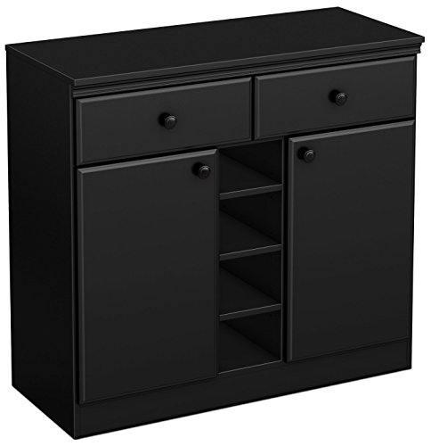 South Shore 7270770 2-Door Storage Sideboard with Drawers, Pure Black