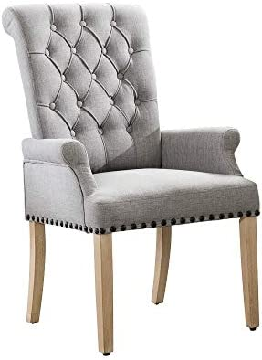 Premium Linen Fabric Dining Chairs Soft Upholstered Highback Chair