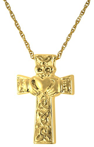 Cremation Memorial Jewelry: Gold Plated Claddagh Cross