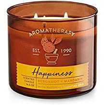 "Bath & Body Works Aromatherapy Scented Candle  ""HAPPINESS"" - Bergamot + Mandarin"