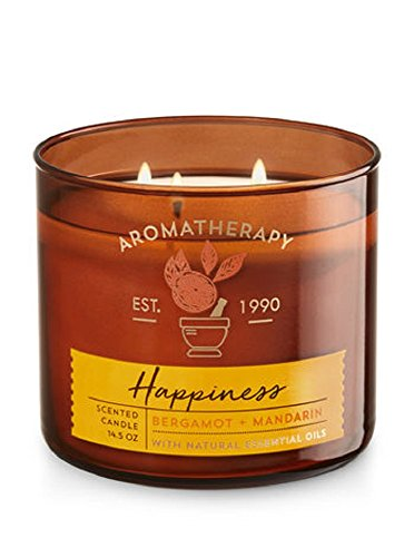 Bath & Body Works Aromatherapy Scented Candle  'HAPPINESS' - Bergamot + Mandarin
