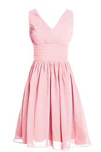 MyProm Women's Straps Short Chiffon Bridesmaid Dress Party Dress Pink XXL