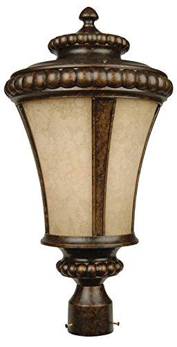 (Exteriors Z1225-112 Prescott 1 Light Post Mount Light Fixture with Antique Scavo Glass, Peruvian Bronze)