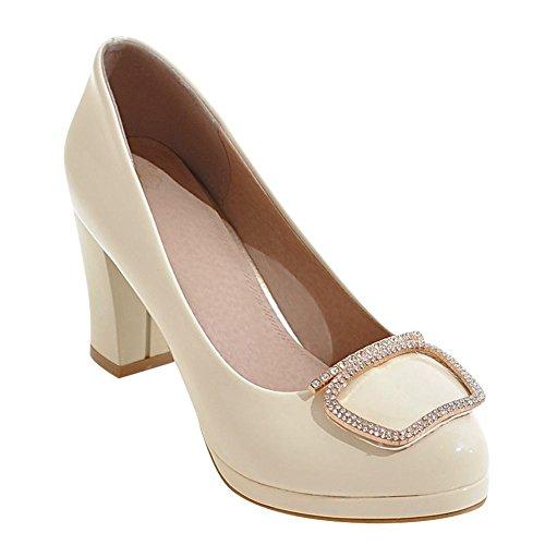 MissSaSa Damen high heel Lackleder Pumps Plateau Strass Brautschuhe Off-White