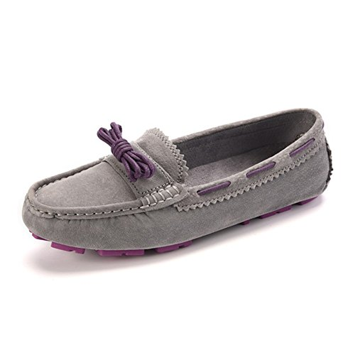 Light Kilty Boat Moccasin Loafers Suede Flat Shoes Grey Bow Tie Womens VASHOP Driving Walk 5vqw7q