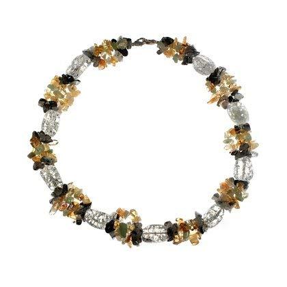 Multi Gemstone 18 - CrystalAge Crackle Quartz Tumble Stone & Multi Gemstone Chip Necklace (18 inch)