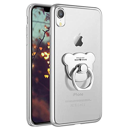 PHEZEN Compatible with iPhone XR Case Crystal Clear TPU Case Soft Silicone Rubber Cover Phone Case with Bear Ring Stand Ultra-Thin Transparent Case for iPhone XR,Silver