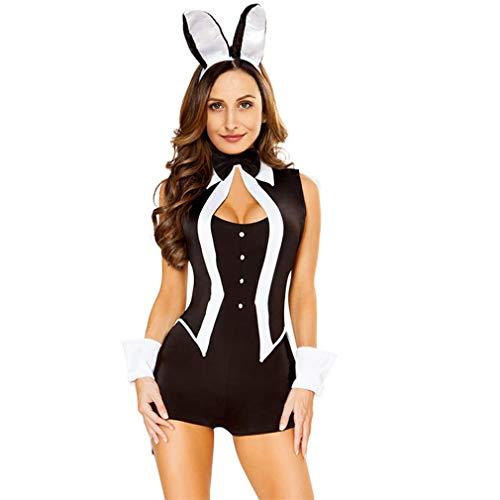 Sexy Women 5 Piece Tuxedo Bunny Costume Tux Tails Halloween Cosplay Party Playsuit Uniform Black Black S ()