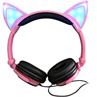 Cat Ear Headphones with Glowing Lights (Pink)