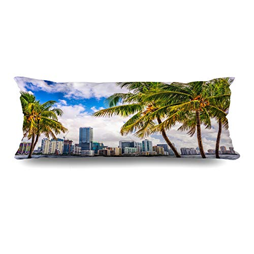 DIYCow Body Pillows Covers Leaves Miami Florida USA Tropical America Downtown Skyline Parks Outdoor Cushion Case Pillowcase Home Sofa Couch Rectangular Size 20 x 54 Inches Pillowslips ()