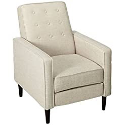 Farmhouse Accent Chairs Macedonia Mid Century Modern Tufted Back Fabric Recliner (Wheat) farmhouse accent chairs