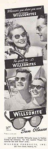 1947 Willsonites Sun Glasses: Wherever You Drive, Willson Print - Willson Sunglasses