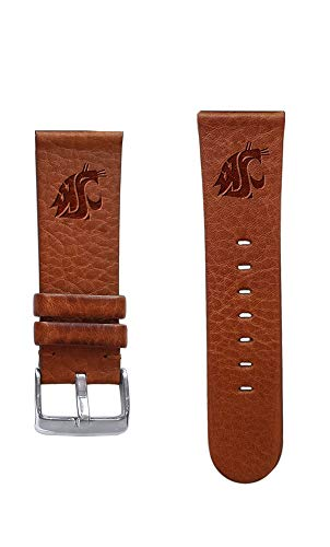 Affinity Bands Washington State University Cougars 22mm Premium Leather Watch Band - Compatible with Samsung, Garmin, Fossil Fitbit and More.