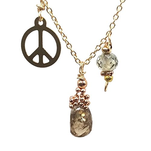 Champagne Diamond Pendant 14K Gold Peace Sign Necklace Handmade Birthday Gift For Her By Van Der Muffin's Jewels ~ 16