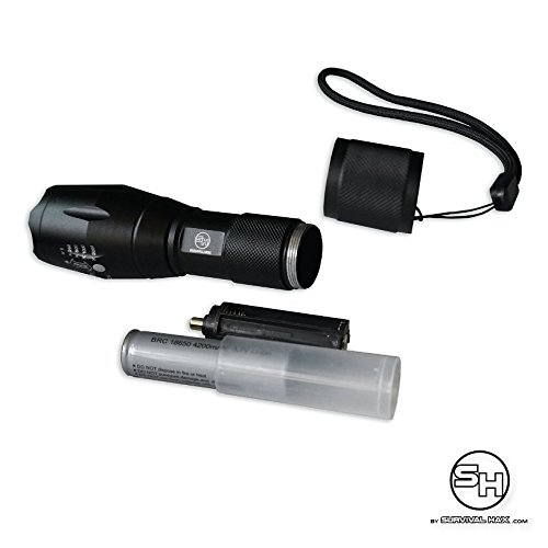 Tactical LED Flashlight - High Power Torch Light is 1000 Lumens utilizing Cree technology - Durable Aircraft Aluminum Alloy for Self Defense, Police, and Military use - Rechargeable (Black) by Survival Hax (Image #7)
