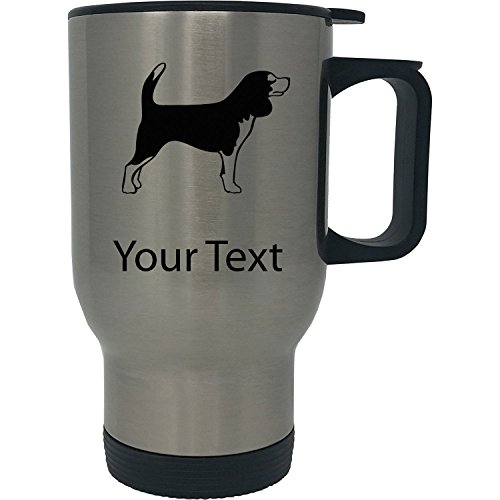 Custom Personalized Beagle 14 Ounce Silver Stainless Steel Travel Coffee Mug with -