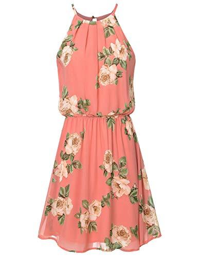 JSCEND Women's Sleeveless Double Layered Pleated Neck Cami Chiffon Mini Dress (S~3XL) B-MAUVETAUPE - Neck Pleated Dress