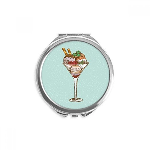 Leaves Flower Goblet Ice Cream Ball Mirror Round Portable Hand Pocket Makeup