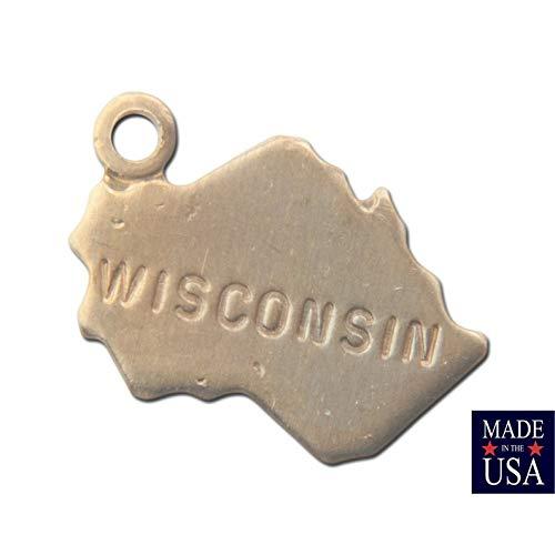 Jewelry Making Supplies Raw Brass Tiny Wisconsin State Charm Drops
