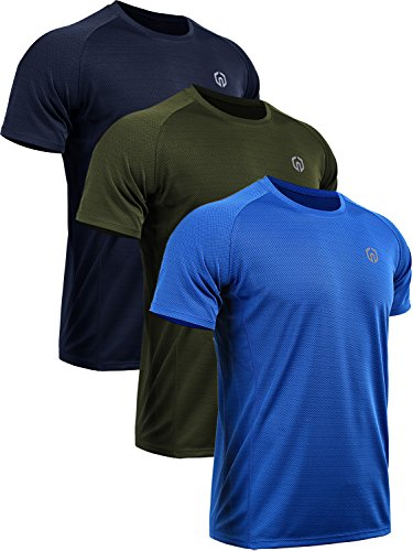 Neleus Men's 3 Pack Mesh Athletic Running Sport Shirts,5033,Navy Blue,Blue,Olive Green,US M,EU L