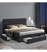 Queen Bed Frame, Artiss Fabric Upholstered Bed Base with Storage Drawers, Charcoal