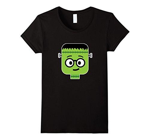 Women's Frankenstein Nerd Emoji T-Shirt Halloween Costume Gift XL Black (Cute Girl Nerd Costumes Halloween)