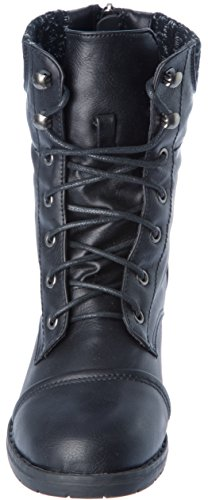 Casual Fashion Combat Womans Western Modern Calf Ankle Mid Boots Black Shoes q081p