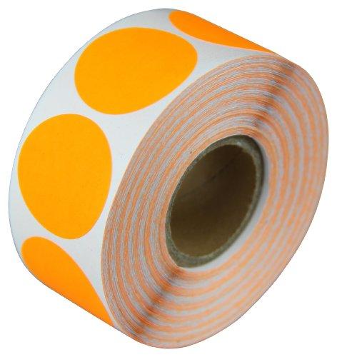 (Circle Dot Round Labels Stickers Color Coding Garage Yard Sale Blank Write-on Bright Neon Fluorescent Orange - 1