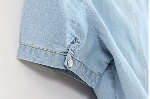 Plus Jacket Lunga Eleganti Primaverile Allentato Women Vintage Denim Al Hellblau Manica Jeans Corto Bavero Nodo Autunno Giovane Donna Cappotto Prodotto Fashion Outerwear Giacche RpAxqd