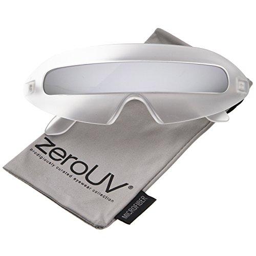 The Mirror Man Costume (zeroUV - Futuristic Costume Single Shield Colored Mirror Lens Novelty Wrap Sunglasses 70mm (Frost / Silver Mirror))