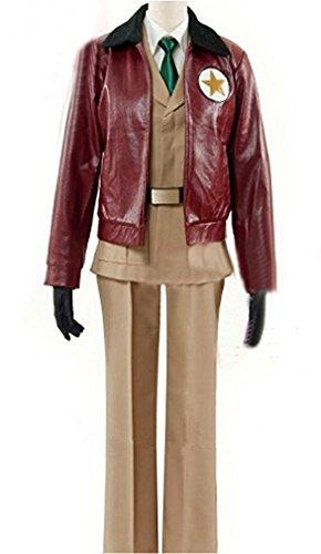 HOLRAN Axis Powers Hetalia America Army Uniform Cosplay Costume (Men-XL, Brown) (Hetalia America Costume)