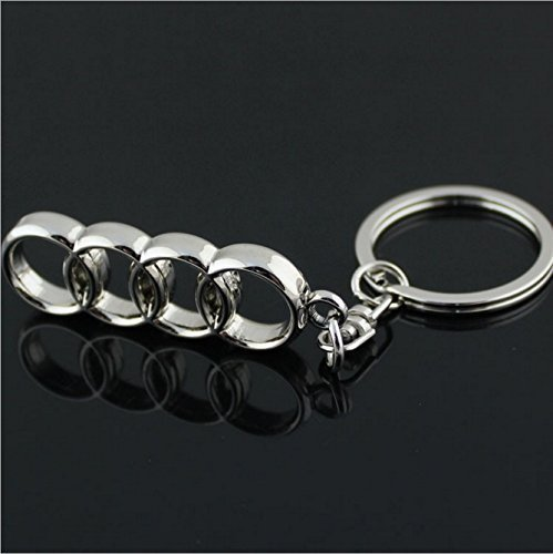 bearfire car logo key chain Zinc Alloy Genuine Leather Key-ring (Audi)