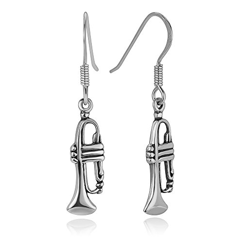 925 Oxidized Sterling Silver Trumpet Music Instrument Jazz Lover Dangle Hook Earrings 1.4""