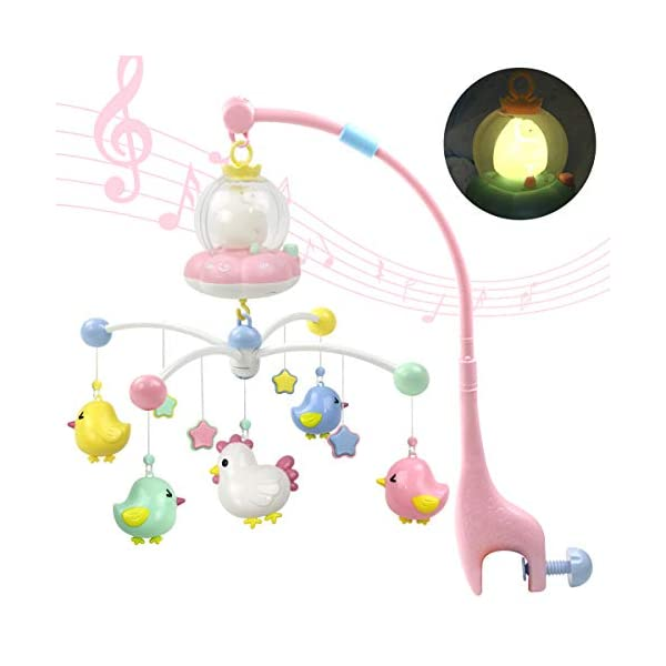 MARUMINE Baby Girl Musical Mobile for Crib with Night Lights and Music, Hanging Rotating Rattles, Multifunctional Music Box, Toy for Newborn 0-24 Months Infant Boys Girls Sleep (Pink)