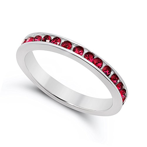 (.925 Sterling Silver Simulated Ruby Red Stackable CZ Eternity Band, Size 7.5 + Cleaning)