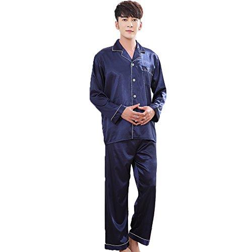 ZUEVI Men's Classic Silk Pajamas Set Sleepwear(Sapphire-XS)