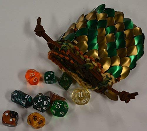 Scalemail Dice Bag in knitted Dragonhide Armor- Bronze Forest - Small 3.5''x3.5'' by Crystal's Idyll
