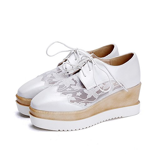 Toe Lace White Pumps Closed Square Heels Women's Pu WeenFashion Shoes Kitten Up Solid ZCw1SnUq