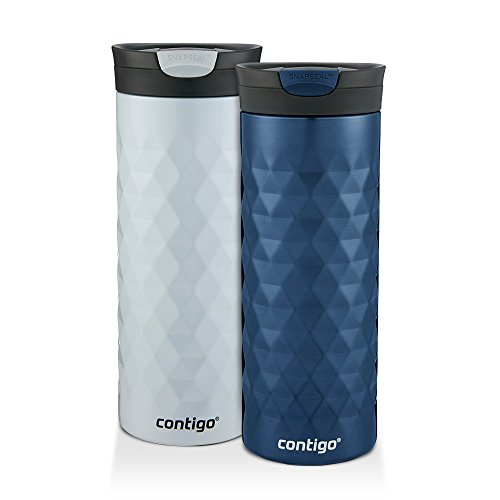 Contigo SnapSeal Kenton Travel Mugs, 20 oz, Polar White & Monaco, 2-Pack