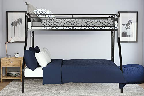 (DHP Rockstar Metal Bunk Bed Frame, Sturdy Metal Design, Twin-Over-Full - Black)