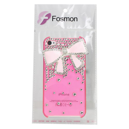 Fosmon 3D Bling Crystal Design Case with Pink Rhinestone Bow for iPhone 4/4S - Pink